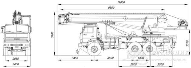 Автокран 25 тонн «Клинцы» КС-55713-5 , габаритные размеры