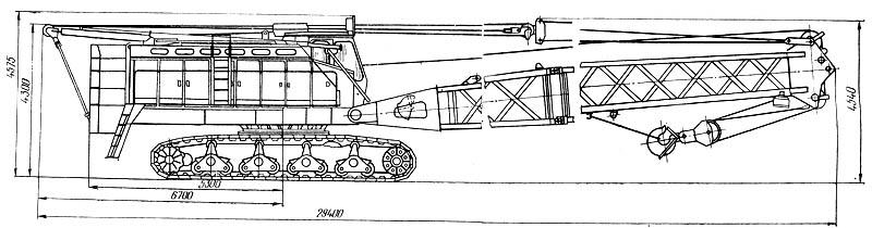 Схема гусеничного крана КС-8165 в транспортном положении