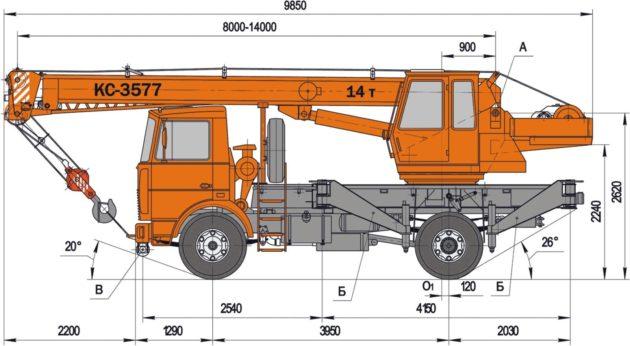 Размеры автокрана КС 3577