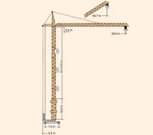 Башенный кран КБ-515 - размеры