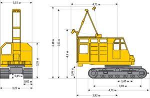 Размеры гусеничного крана РДК-250