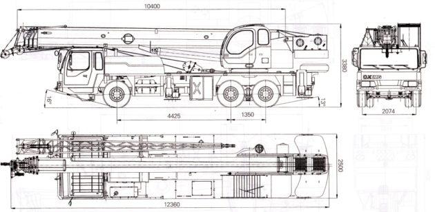 XCMG QY25K 32 тонны - габариты автокрана