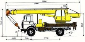 Габаритные размеры автомобильного крана 16 тонн Ивановец