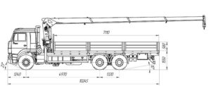 Габаритные размеры КамАЗ-65117 с КМУ