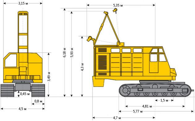 Размеры крана РДК-400