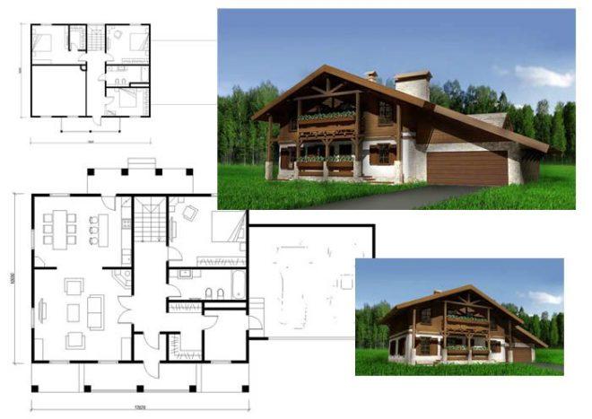 Пример проекта дома в стиле шале
